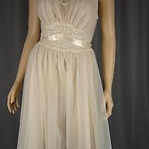 Vintage 1960s Vanity Fair Blush Peach Sheer Chiffon Overlay Nightgown Ivory Lace Photo