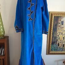 Vintage 1970 Oscar De La Renta Turquoise Blue Black Gold Long Robe Medium Large Photo