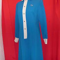 Vintage 1970's Blue Poly Mod Dress by Chemise Lacoste for I. Magnin Size Large Photo