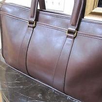 Vintage 1970's Coach Brown Baseball Glove Leather Laptop Briefcase Bag R698 Photo