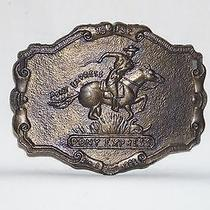 Vintage 1970's Western Style Pony Express Large Metal Belt Buckle Photo
