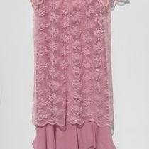 Vintage 1970 Sears Pink Mauve Dress Lace Size M/l Mother of the Bride Easter Photo
