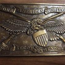 Vintage 1976 Our American Heritage the Second Amendment Brass Belt Buckle Usa Photo