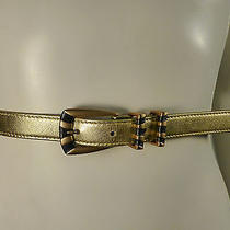 Vintage 1980 Escada Skinny Metallic Gold and Blue Leather Belt Size 38  Photo