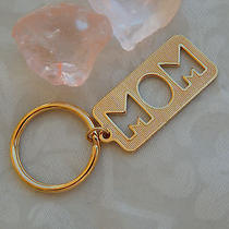 Vintage 1980's Avon Gold-Tone Mom Keychain Key Ring Open Cut-Out Photo