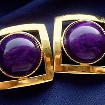 Vintage 1980's Big Chunky Chic Purple  Gold Square Earrings by Avon 70s 80s Photo
