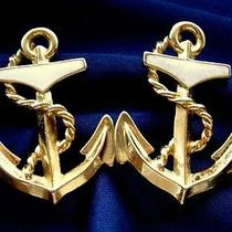 Vintage 1980's Big Cream  Gold Enamel Nautical Anchor Earrings by Avon 70s 80s Photo