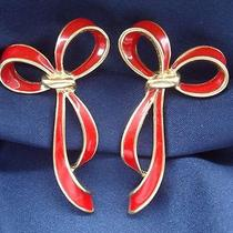 Vintage 1980's Big Fun Bright Red Enamel Ribbon Earrings by Avon Pierced 70s 80s Photo