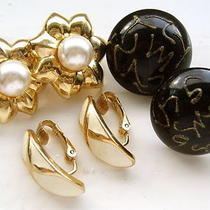 Vintage 1980's Black Gold  Cream Chic Earrings Lot Signed Avon Glamour 70s 80s Photo