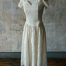 Vintage 1980's Blush Lace Traditional Dress Xs to Small Off Shoulder Ankle Gunne Photo