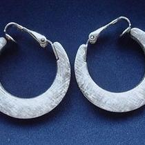 Vintage 1980's Space-Age Chic Silver Hoop Earrings Signed Avon 3cm 70s 80s Photo