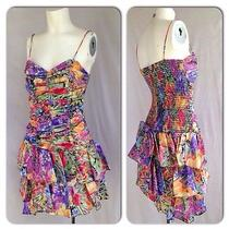 Vintage 1980s Avon Bright Floral Taffeta Ruched Mini Party Dress Miami Tiered S Photo