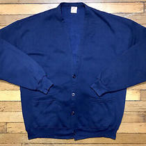 Vintage 1980s Jerzees by Russell Sweatshirt Blue Cardigan Xl 46 One Size Photo