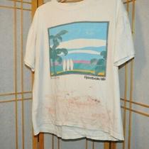 Vintage 1980s Reebok Surfing Faded Worn Usa White L/xl T-Shirt Single Stitch Photo