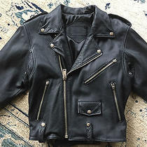 Vintage 1980s Women's Black Leather Motorcycle Biker Jacket S Limited Express  Photo