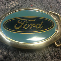Vintage 1983 Oval Curved Ford Brass Belt Buckle Aqua/dark Blue Unique Baron Photo
