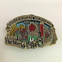 Vintage 1984 Farmers Feed the World Belt Buckle by Great American Buckle Company Photo