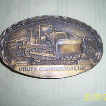 Vintage 1984 Utilityconstuctorsinc Brass Buckle-Dated Photo