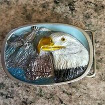 Vintage 1986 Cj Inc Solid Pewter Belt Buckle American Bald Eagle Head Usa 1135 Photo