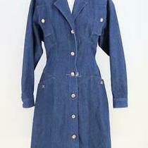 Vintage 1987 Chanel Blue Denim Jacket Long Coat Sz S Photo
