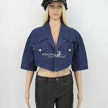 Vintage 1987 Chanel Dark Blue Denim Cropped Crop Jacket Cc Buttons M Photo