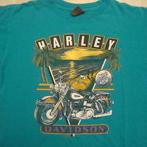 Vintage 1990 Harley Davidson Motorcycle 3d Emblem Kahului Hawaii T Shirt L Photo