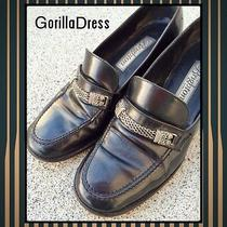 Vintage 1990's/90's Brighton 8m Black Leather Loafers W/ Silver Chain Strap Photo