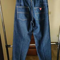 Vintage 1990's Guess Double-Button Zip 7-Pocket Us Made Denim Jeans Sz 31 X 31 Photo