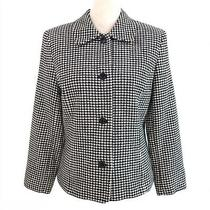 Vintage 1990s Talbots Houndstooth Blazer Black White Wool Blend Size 8 Photo