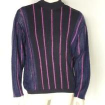Vintage 1990s Gianni Versace Couture Mock Neck Striped Wool Sweater Sz Large 40 Photo