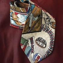 Vintage 1991 Nicole Miller Mlb Baseball Collection Red Socks Cubs 100% Silk Tie  Photo