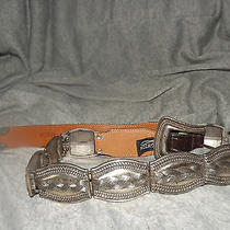 Vintage 1993 Brighton Men's Women's Unisex Silver Tone Linked Leather Belt Mint Photo