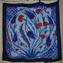 Vintage 2002 Hermes Ceramique Ottomane Blue Red Teal Hand Rolled Silk Scarf Photo