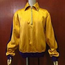 Vintage 30's Lowe Campbell Half Zip Pullover Satin Athletic Jacket Yellow Photo