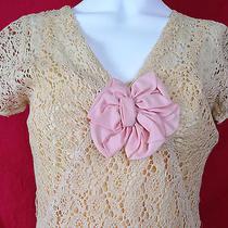 Vintage 30s Blush Peach Crochet Dress W Bow Deco Zig Zag Seaming Photo