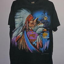 Vintage 3d Emblem Native American Indian Chief Wolf and Eagle T Shirt Black Xl Photo