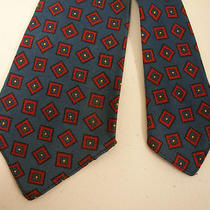 Vintage 40s Hudson's Wool Challis French Blue Novelty Print Necktie  Photo