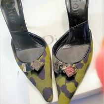 Vintage 430 Christian Dior Leather/camo Green Canvas Leopard W/ Dice Mules 9b  Photo