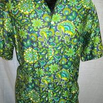 Vintage 50's Kahala Men Green Aqua Rockabilly Hawaiian 1950s Loop Collar Shirt L Photo