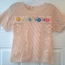 Vintage 50s Pink Blush W/ Flowers Crochet Knit Top Sz S  Photo