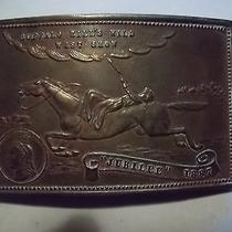 Vintage 60's-70's Buffalo Bills Wild West Show Brass Belt Buckle-Annie Oakley Photo