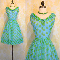 Vintage 60s Aqua Chiffon Green Polka Dot Dress Prom Cocktail Party S Photo
