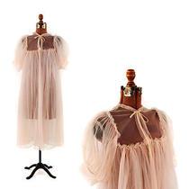 Vintage 60s Eye-Ful Sheer Mesh Blush Pink Chiffon Sissy Babydoll Nightgown Robe Photo