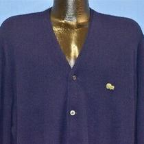 Vintage 60s Izod of London Crocodile Lacoste Dark Blue Cardigan Sweater Large L Photo