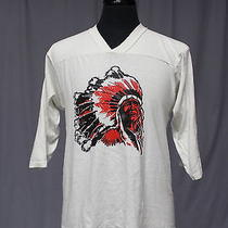 Vintage 70s 80s Native American Indian Chief Jersey T Shirt Large Biker Rocker Photo