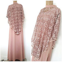 Vintage 70s Cocktail Party Dress Size Xlarge Plus Blush Lace Cape Bridesmaids Photo