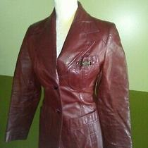 Vintage 70s Etienne Aigner Burgundy Red Genuine Leather Jacket Blazer  Sz 8 Photo