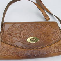 Vintage 70s Hand Tooled Leather Handbag Hippie Boho Ethnic Grunge Purse Photo