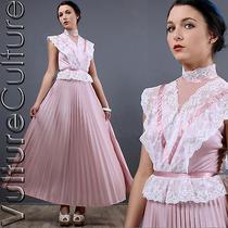 Vintage 70s Hippie Dress Blush Pink Sheer Lace Boho Wedding Full Airy Maxi Xs/s Photo