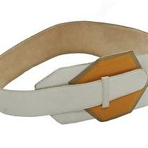 Vintage 70s Lanvin White Leather Art Decon Inspired Belt Sz. M Photo